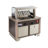 V-Class Custom Downdraft Vent System: includes base & 22  high tempered curved breathguard with integrated fire suppression system