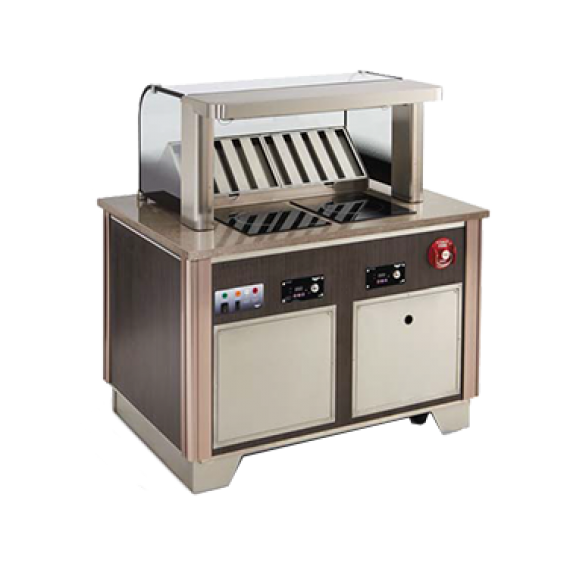V-Class Custom Downdraft Vent System: Includes: Base & 22 H tempered curved breathguard with integrated ANSUL R-102 fire suppression system