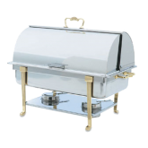 Classic Design Full-Size Brass Trim Chafer with roll top cover