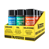 Krowne Food Grade Lubricants 12 Can Display Case. Display includes yellow display case tray & four (4) each of Food Grade Grease